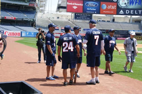 "Bobby Bellini (Number 24) played with ""Boomers Bombers"" against former Yankees players at Yankee Stadium to raise money for the Boomer Esiason Foundation to fight Cystic Fibrosis. With Bobby, from left to right, Craig Carton of WFAN, former Mets pitcher John Franco, and former NFL quarterback Boomer Esiason."