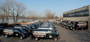 Varsity Plumbing's fleet of trucks stand at the ready outside their 32,000-square-feet of office and warehouse space at their Flushing, Queens headquarters.